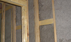 Wood frame with insulation