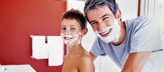 Father & Son shaving